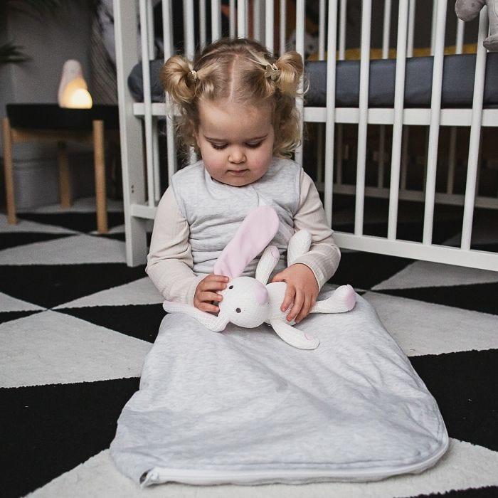 Child wearing The Original Grobag Grey Marl Sleepbag