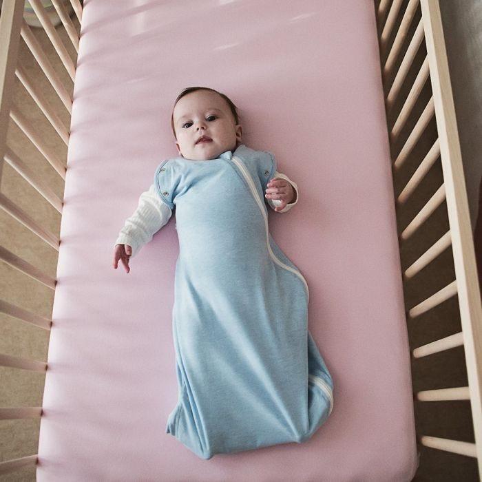 Baby sleeping in The Original Grobag Blue Marl Snuggle