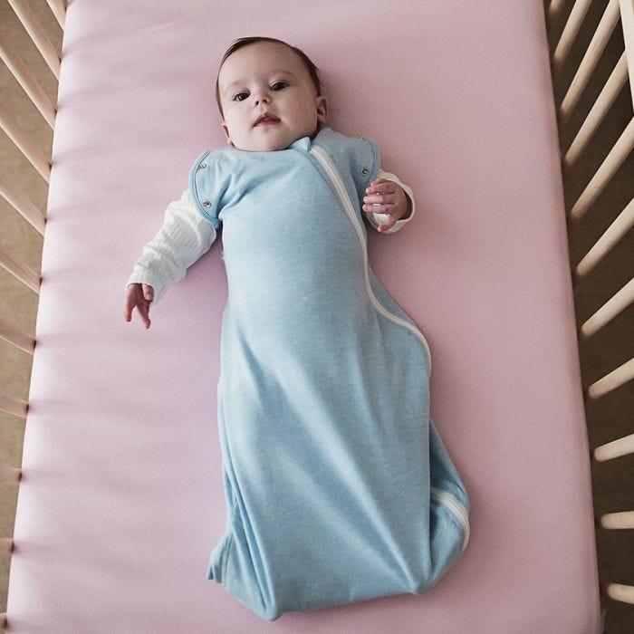 Baby wearing The Original Grobag Blue Marl Snuggle