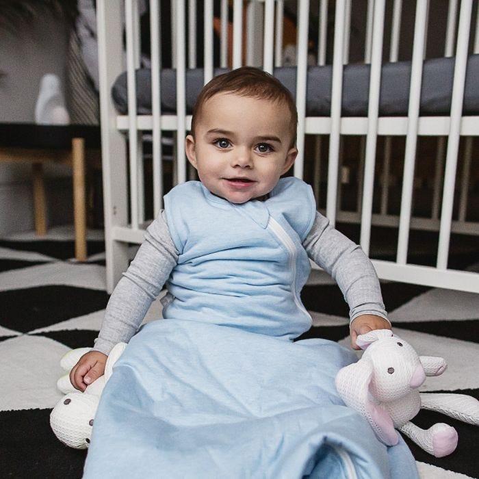 Child wearing Blue Marl sleepbag