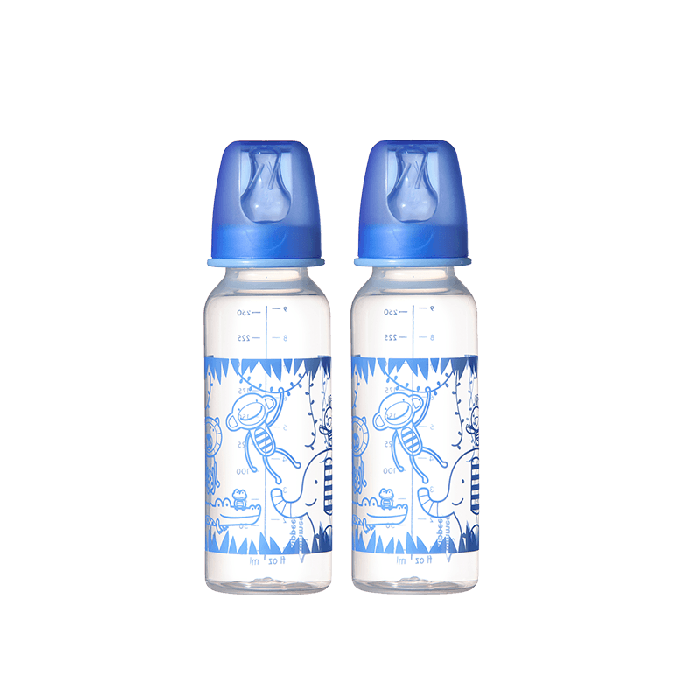Two monkey design blue essential standard neck bottles