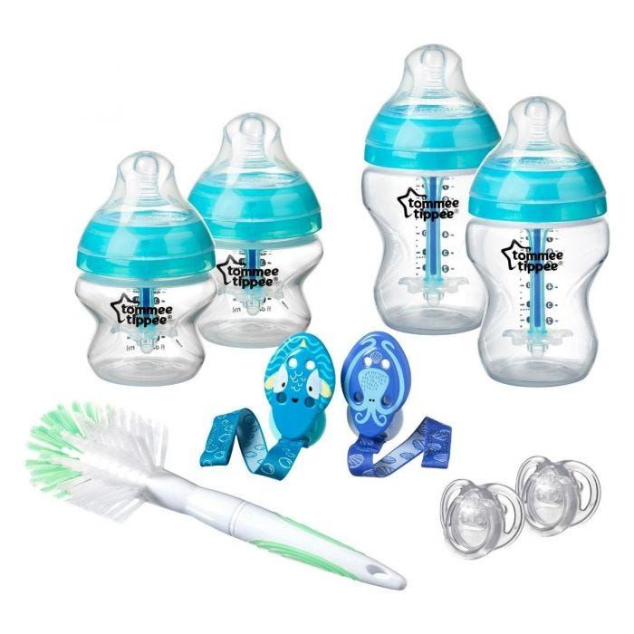 Advanced anti-colic baby bottles in blue with soothers and soothers clips.