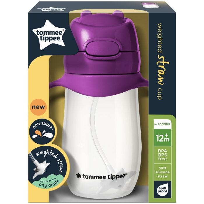 Weighted Straw Cup 300ml Purple in packaging