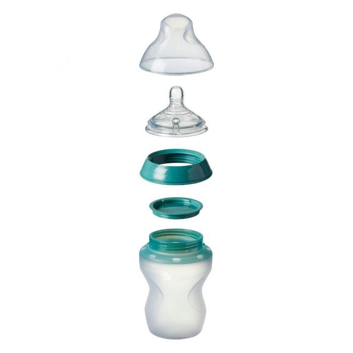 Closer to Nature Silicone Baby Bottle, exploded view