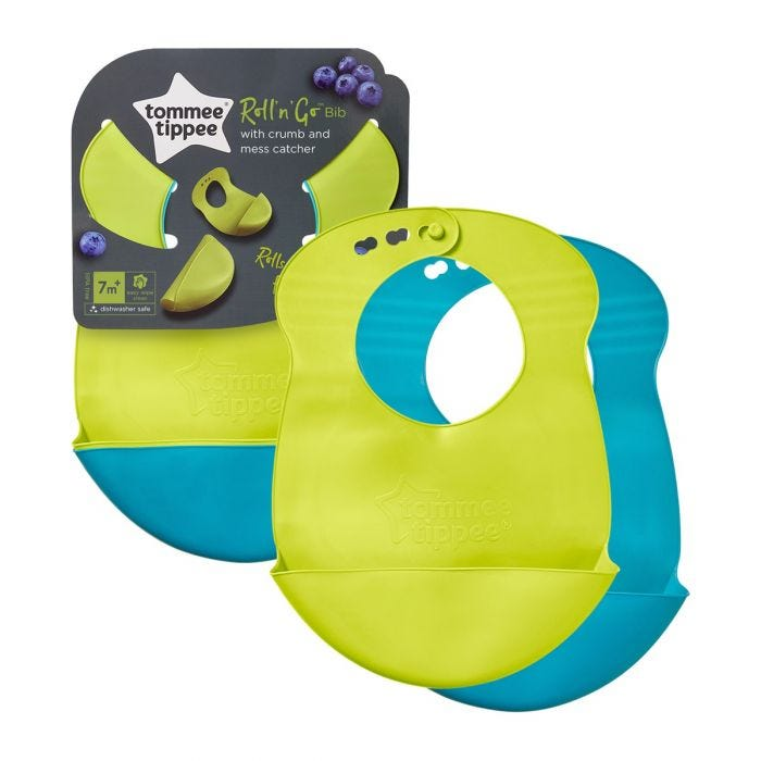 Roll and Go Bibs  with packaging showing both colours