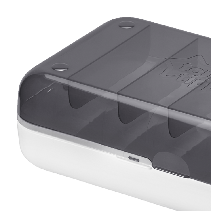 Black and white Tommee Tippee express and go storage case top down view