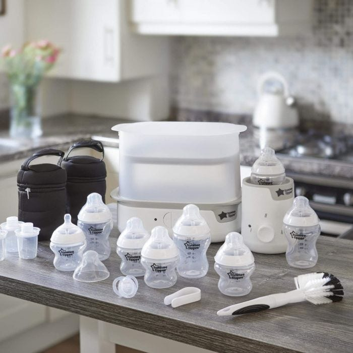 white-Complete-Feeding-Set-on-kitchen-bench