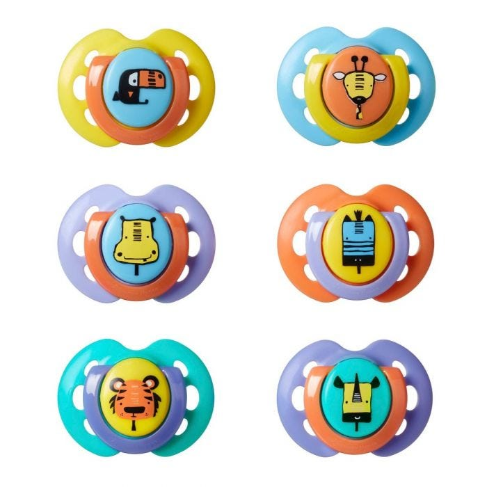 Fun style soother 6 pack 0-6month showing designs