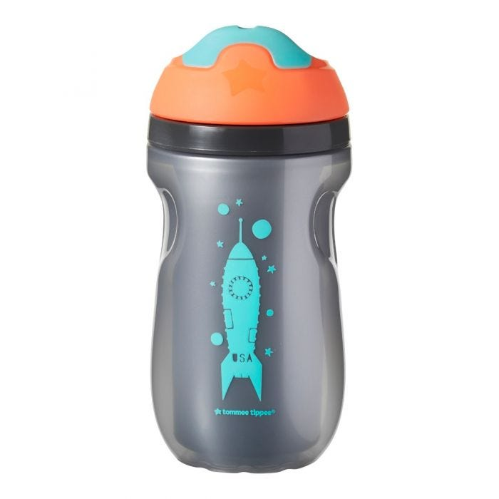 Insulated-sippee-cup-in-silver-with-orange-cap-and-aqua-spout-with-an-aqua-blue-rocket-design