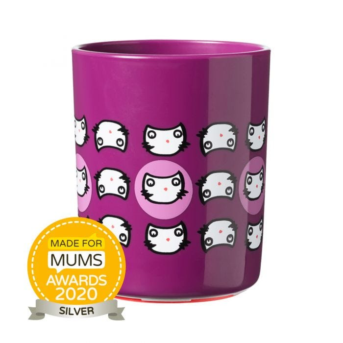small-purple-no-knock-cup-with-multiple-cat-head-design
