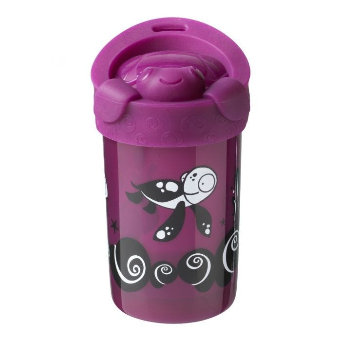 No knock cup with lid purple