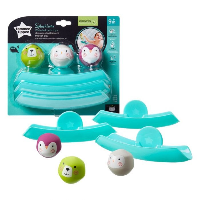 Splashtime Waterfall Bath Toys with packaging