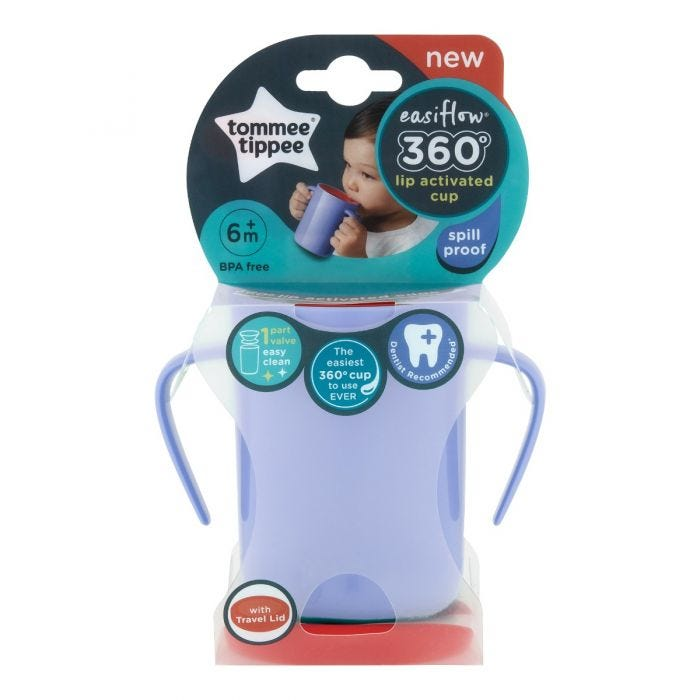 Easiflow 360° Cup purple with packaging