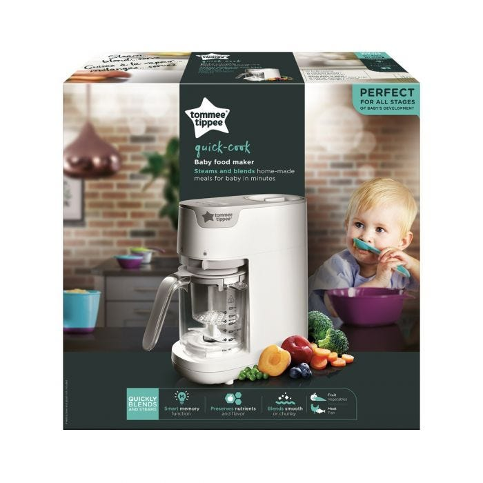 Quick-cook-baby-food-maker-packaging-with-claims-'perfect-for-all-stages-of-baby's-development'-and-image-of-toddler-spoon-feeding-himself-pureed-food