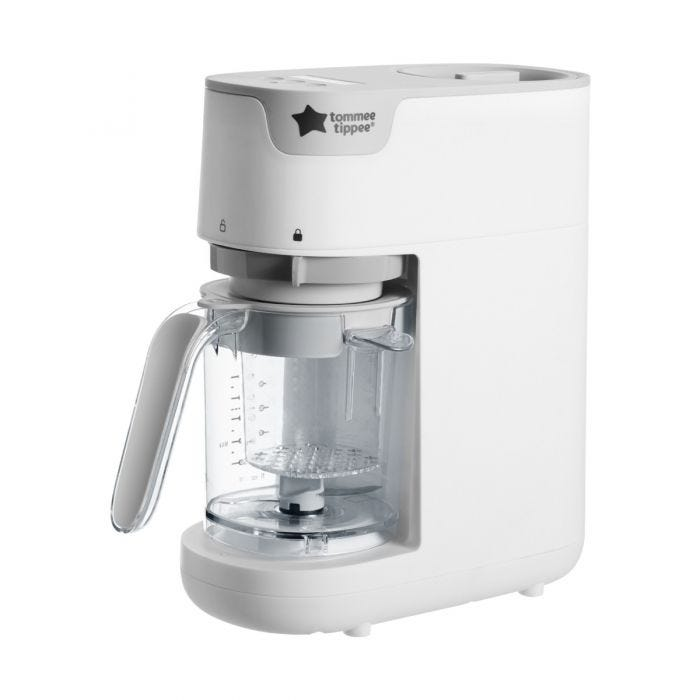 Quick-cook-baby-food-maker-in-white-with-tommee-tippee-logo-and-clear-blender-jug