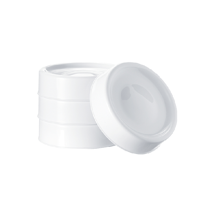 Tommee Tippee Closer to Nature milk storage pot lids stacked on top of eachother