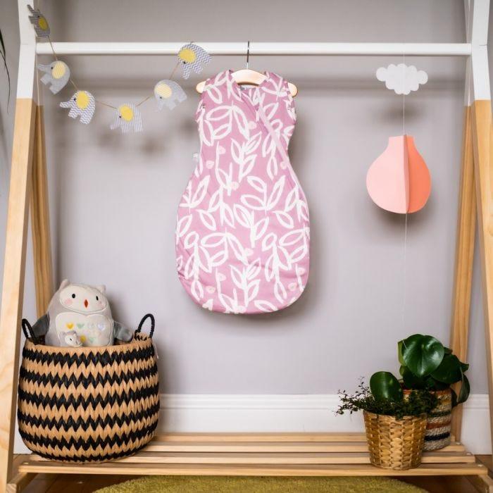 Botanical Grobag Snuggle on a hanger in a nursery