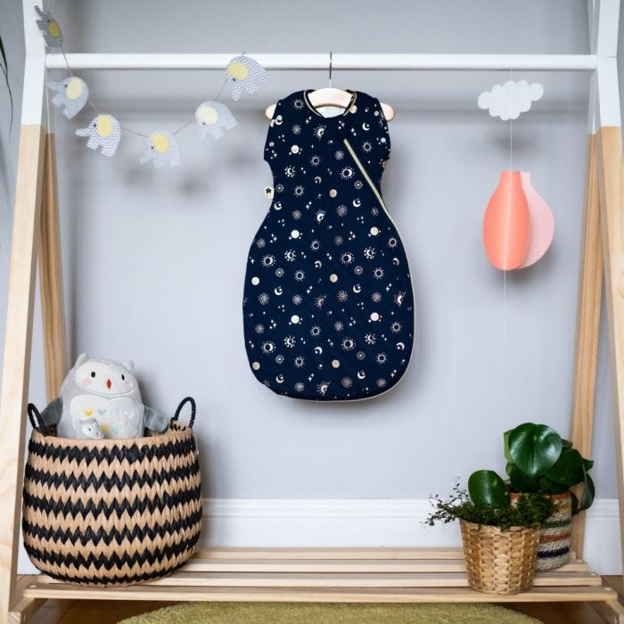 The Original Grobag Moon Child Snuggle on a hanger in a nursery