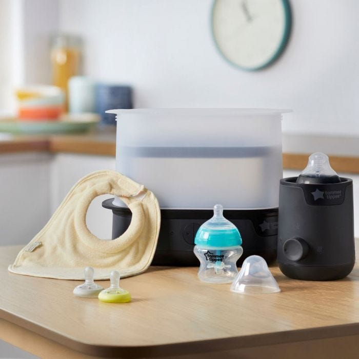 New parent starter set in black on the table