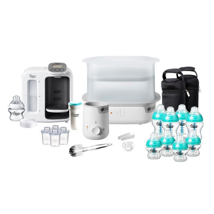 Bundle of products, bottles, Perfect Prep Machine, Steriliser all in white.