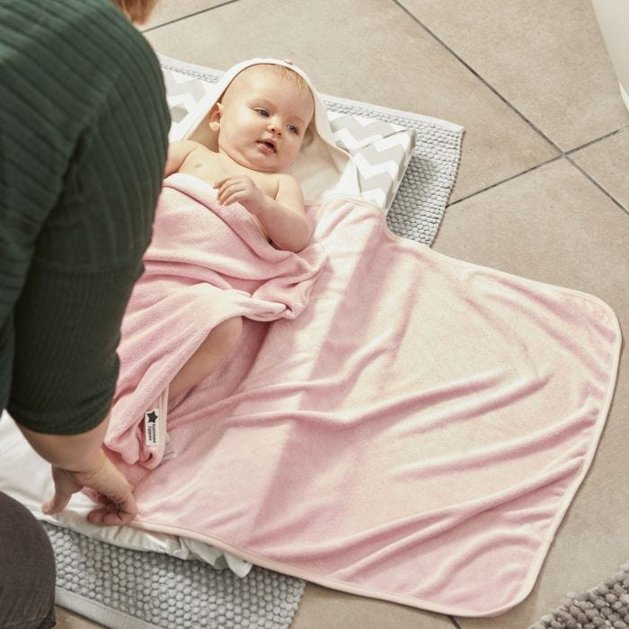 baby about to be wrapped by mum with Splashtime hug 'n' dry hooded towel