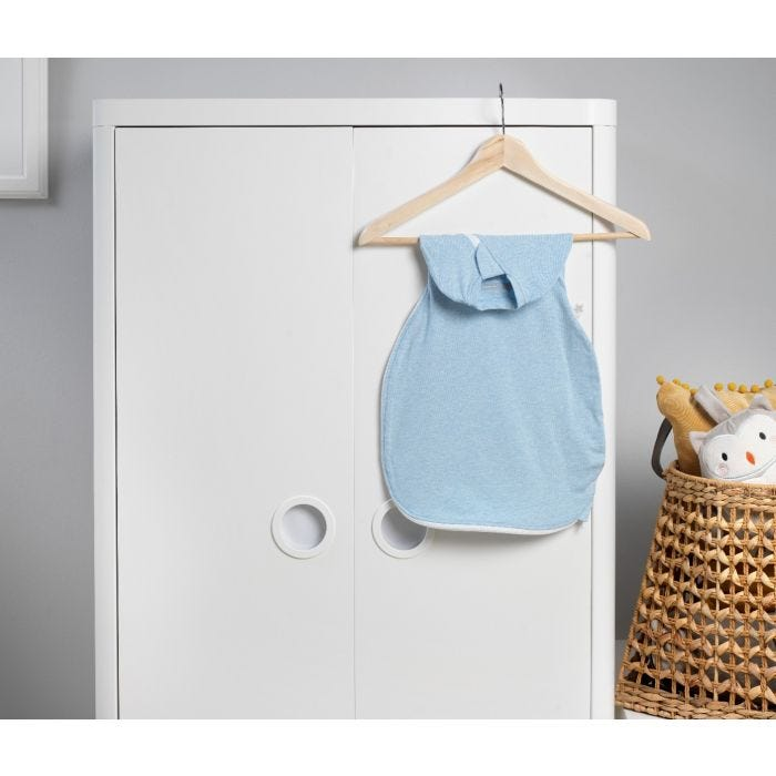 Blue Marl Easy Swaddle hanging up
