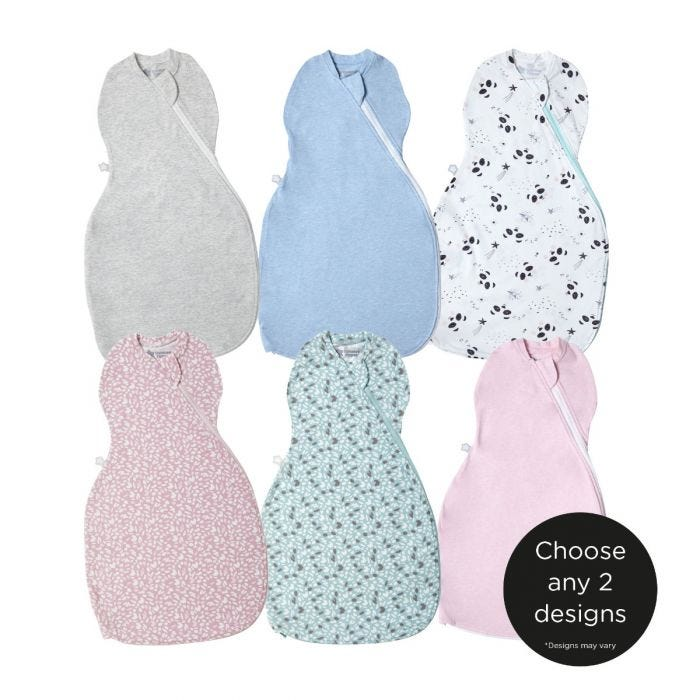 The Original Grobag Easy Swaddle, 0-3 months- choose any 2 designs