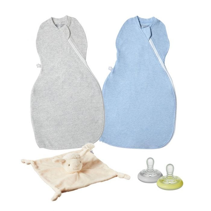 Easy swaddle, soother and comforter