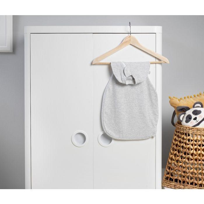 Grey Marl Easy Swaddle hanging on wardrobe