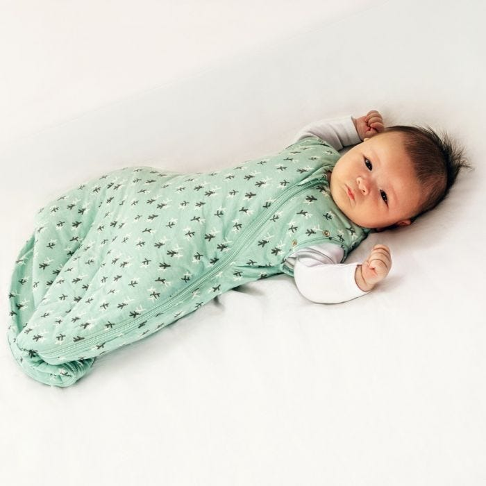 baby wearing Tommee Tippee treasure trees snuggle with both arms raised