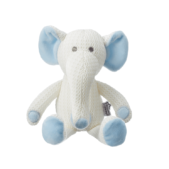 Blue Elephant Tommee Tippee Breathable Toy, front on view.