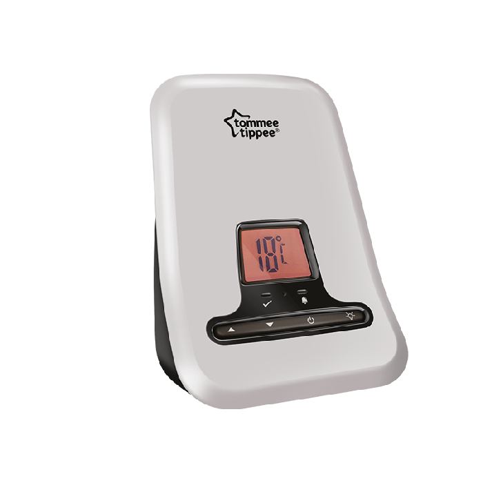 Tommee Tippee Digital Sound and Movement Monitor with screen showing temperature