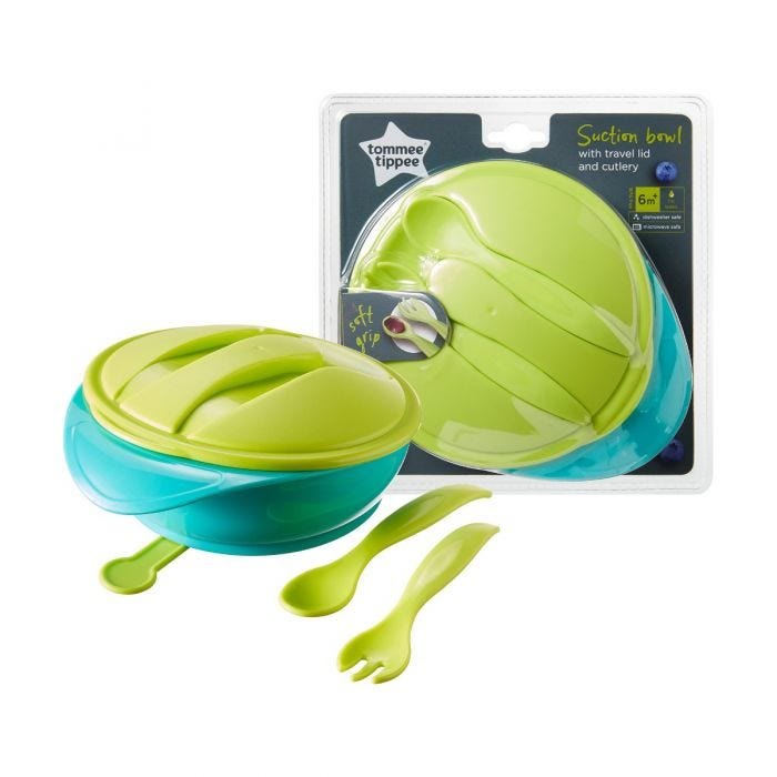 Suction Bowl with travel lid and cutlery  with packaging