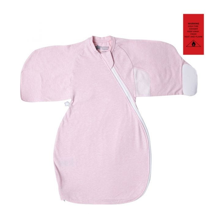 Pink Marl Swaddle Wrap open flat with fire safety advisory