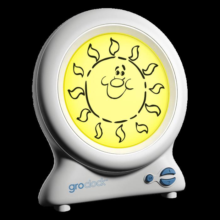 groclock with sun on display