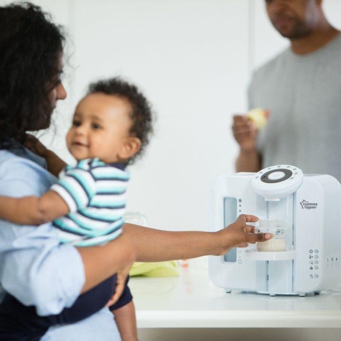 Family using Perfect Prep Anti-Colic Feeding Bundle
