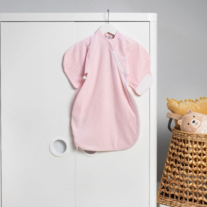 Pink Marl Swaddle Wrap hanging up
