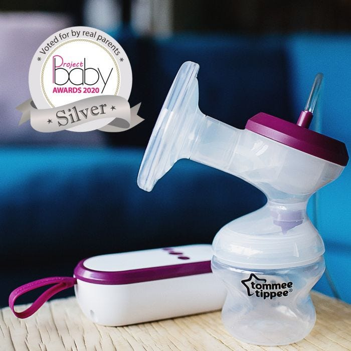 Made for me electric breast pump with Project Baby Silver award roundal