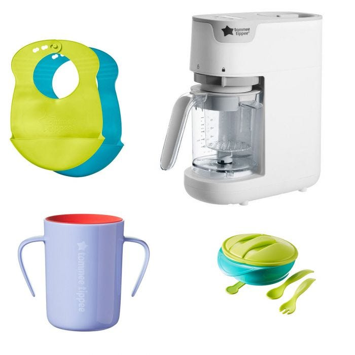 Bibs, no spill cup, quick cook blender and suction bowl