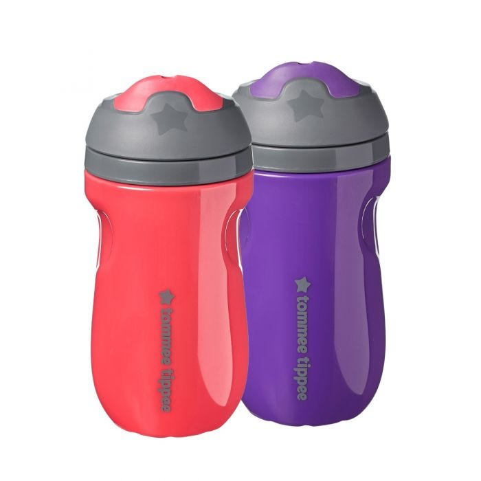 Insulated sippee 2 pack - red purple