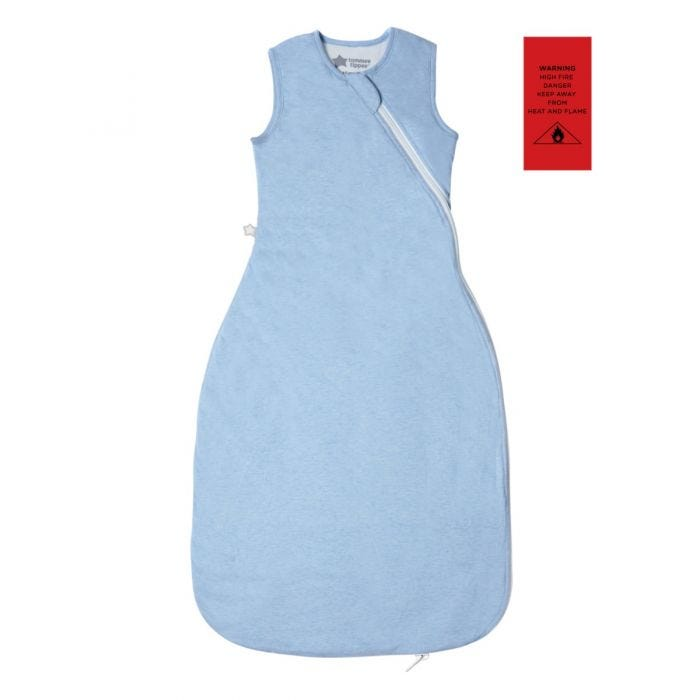 Blue Marl Grobag Sleepbag with fire safety advisory label