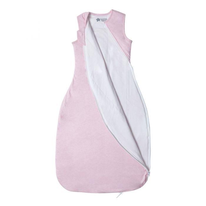 The Original Grobag Pink Marl Sleepbag zip open