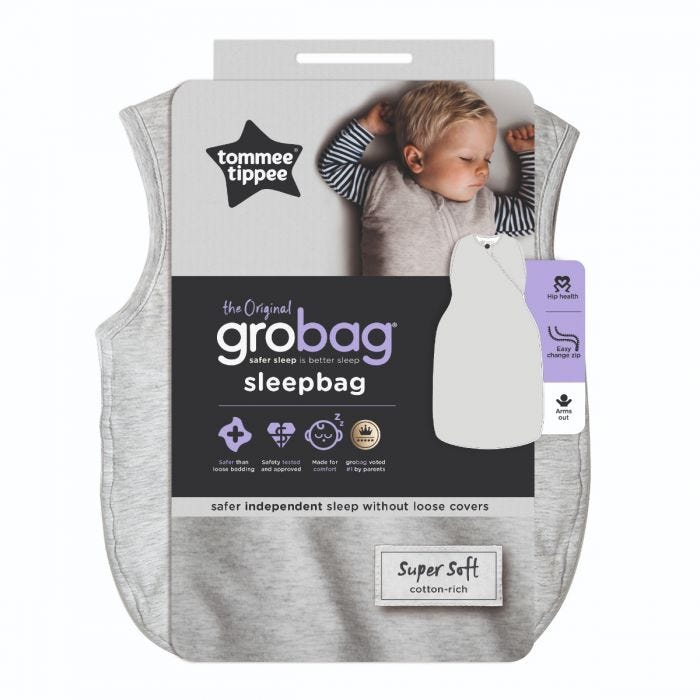 The Original Grobag Grey Marl Sleepbag packaging