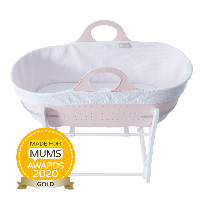 Pink sleepee moses basket with award roundal
