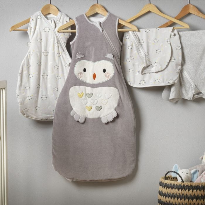 The Original Grobag Ollie the Owl Sleepbag hanging in nursery