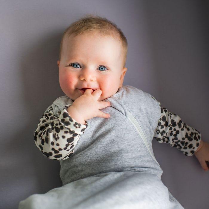 Baby in grey marl snuggle