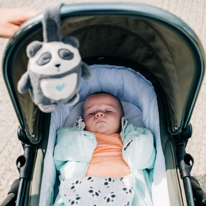 pip the panda sleep aid on pushchair with baby in pushchair