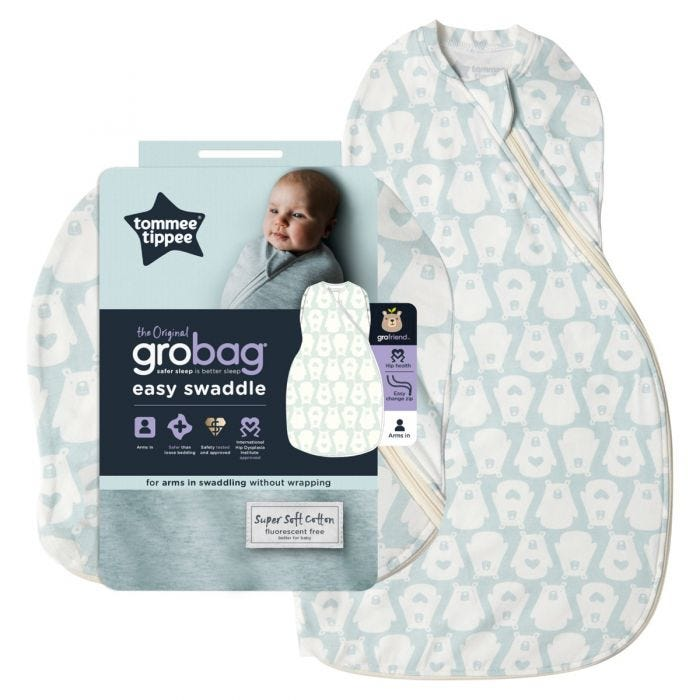 The Original Grobag Bennie the Bear Easy Swaddle with packaging