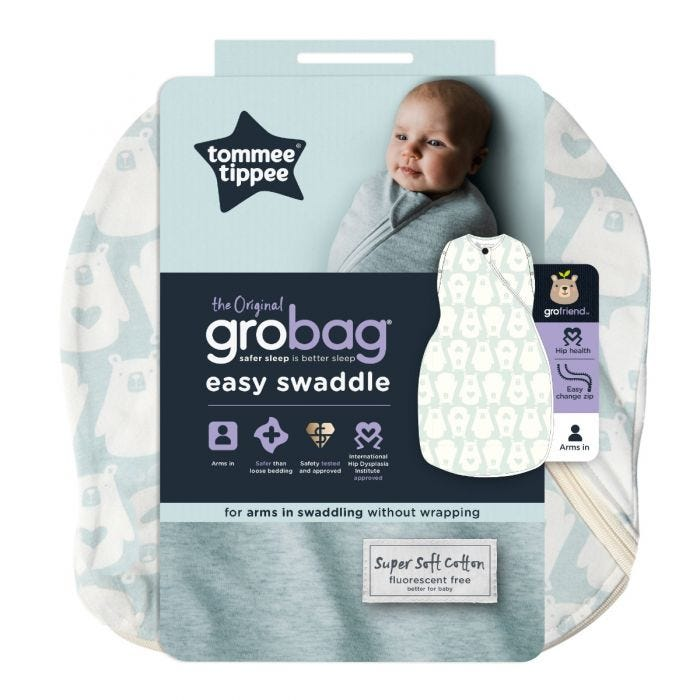 The Original Grobag Bennie the Bear Easy Swaddle packaging