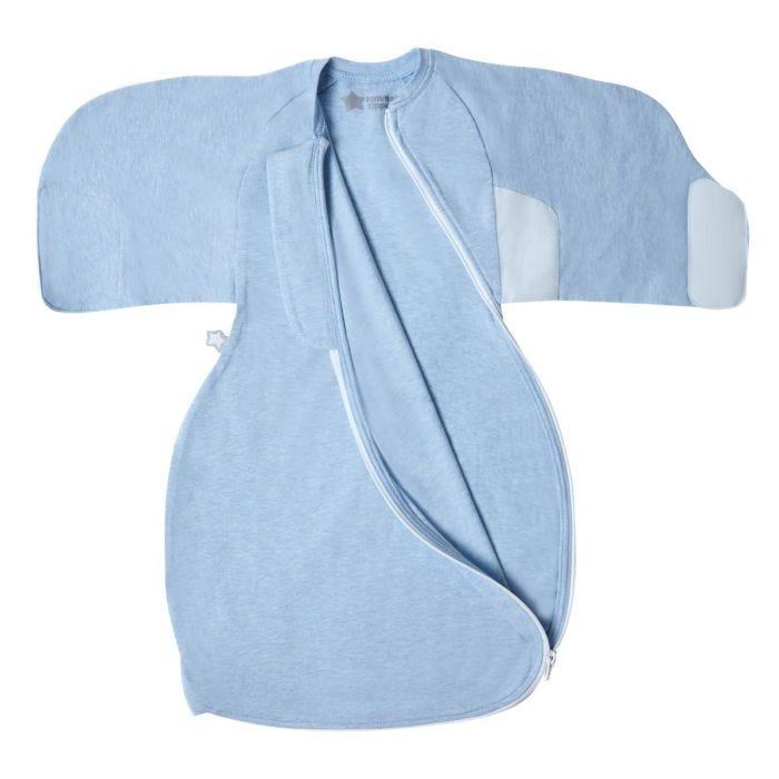 Blue Marl Swaddle Wrap open flat zip open